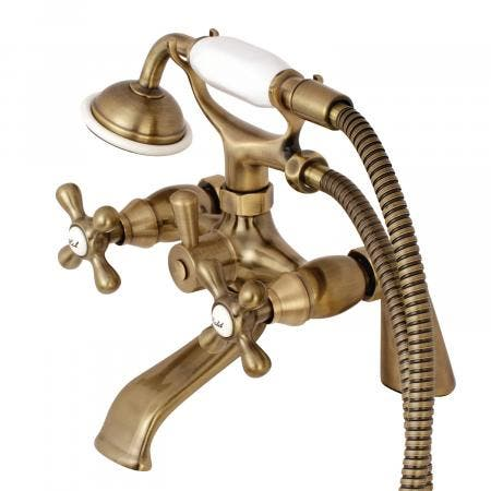 Kingston Brass KS267AB Clawfoot Tub Filler Faucet With Hand Shower, Vintage Brass