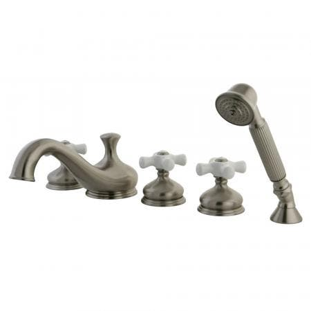 Kingston Brass KB241PX VICTORIAN Tub & Shower Faucet with Porcelain Cross Handles