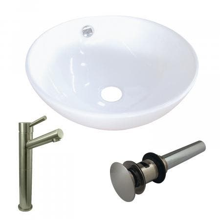 Kingston Brass EV4129S8418 Vitreous China Basin With Sink Faucet and Drain Combo, White/Brushed Nickel