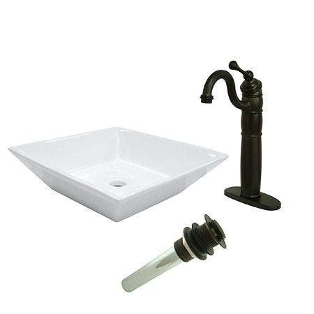 Kingston Brass EV4256B1425 Vessel Sink With Heritage Sink Faucet and Drain Combo, White/Oil Rubbed Bronze