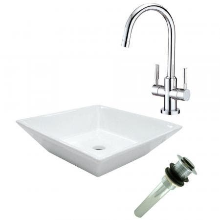Kingston Brass KZ16156KB491 STAINLESS STEEL KIT SINK COMBO W/FCT & STRAINERS IN A BOX