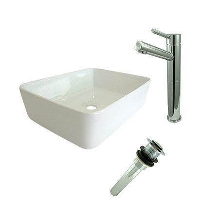 Kingston Brass EV5102S8411 Vessel Sink With Concord Sink Faucet and Drain Combo, White/Polished Chrome