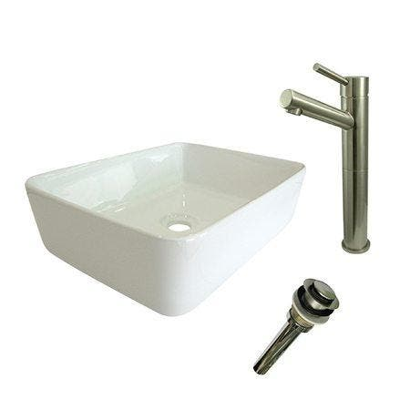 Kingston Brass EV5102S8418 Vessel Sink With Concord Sink Faucet and Drain Combo, White/Brushed Nickel