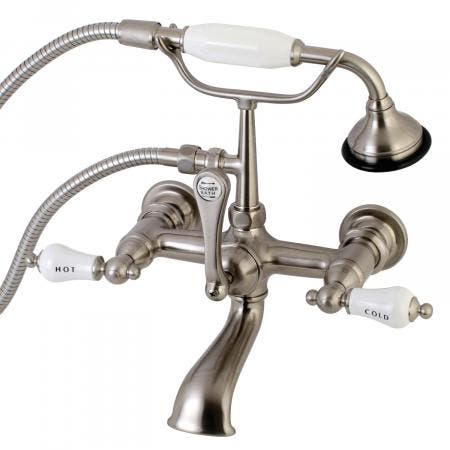 Aqua Vintage AE555T8 Clawfoot Tub Faucet with Hand Shower, Brushed Nickel