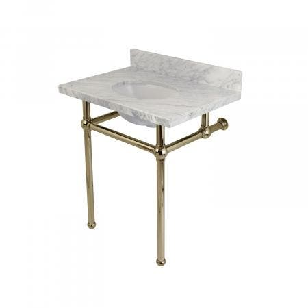 Fauceture KVPB30MB6 Templeton Carrara Marble Bathroom Console Vanity with Brass Pedestal, Polished Nickel
