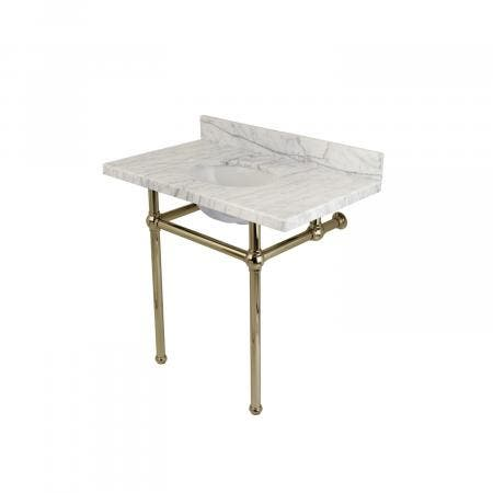 Fauceture KVPB36MB6 Templeton Carrara Marble Bathroom Console Vanity with Brass Pedestal, Polished Nickel