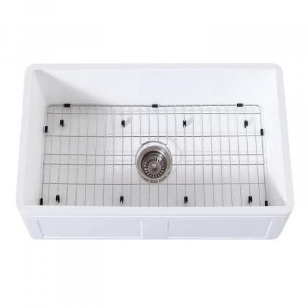 Gourmetier KGKFA301810DS Farmhouse Single Bowl Kitchen Sink with Strainer & Grid