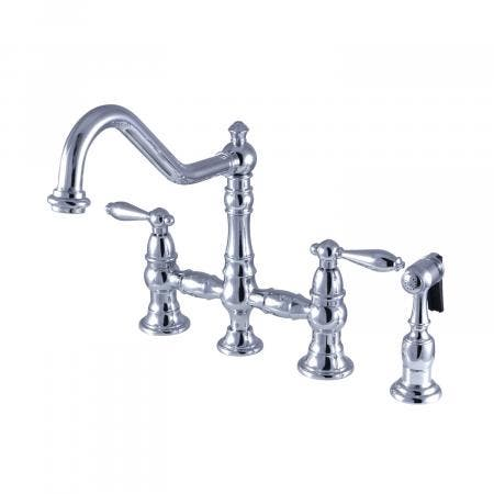Kingston Brass KS3271ALBS Kitchen Faucet with Side Sprayer, Polished Chrome