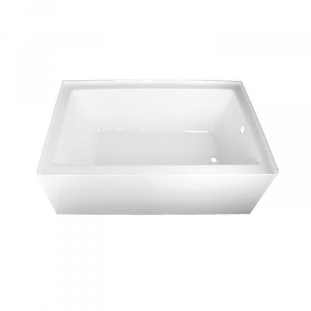 Kingston Brass Aqua Eden 60-Inch Acrylic Alcove Tub with Right Hand Drain Hole, White