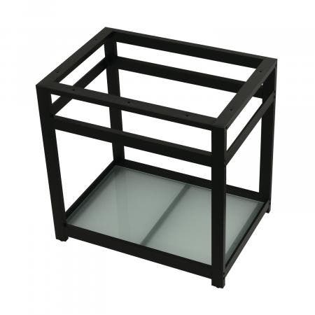 Fauceture VSP3122B0 31-Inch x 22-Inch Console Sink Base with Glass Shelf, Matte Black