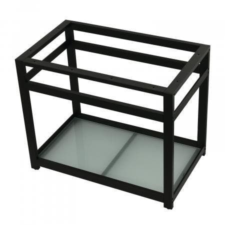 Fauceture VSP3722B0 37-Inch x 22-Inch Console Sink Base with Glass Shelf, Matte Black