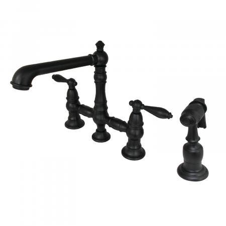Kingston Brass KS7270ALBS Kitchen Faucet with Side Sprayer, Matte Black