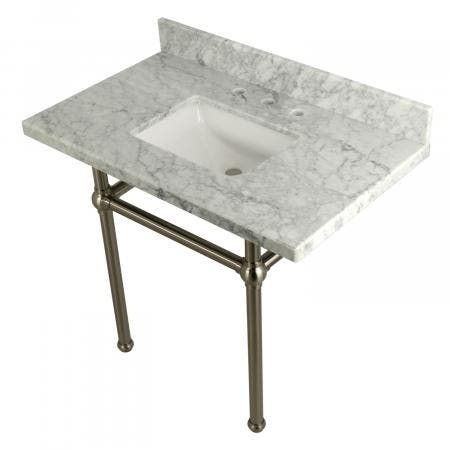 Kingston Brass KVPB3630MBSQ8 36X22 Carrara Marble Vanity with Sink and Brass Feet Combo, Carrara Marble/Brushed Nickel