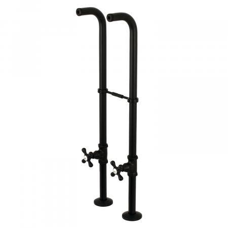 Kingston Brass CC266S0AX Freestanding Supply Line with Stop Valve and Handle, Matte Black