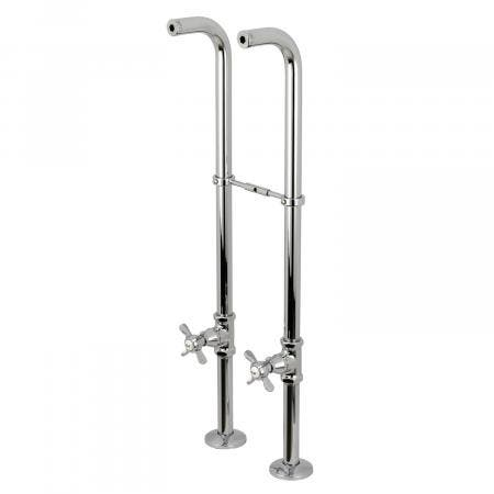 Kingston Brass CC266S1BEX Freestanding Supply Line with Stop Valve and Handle, Polished Chrome