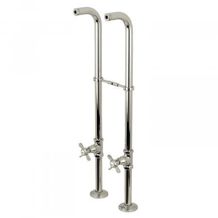 Kingston Brass CC266S6BEX Freestanding Supply Line with Stop Valve and Handles, Polished Nickel